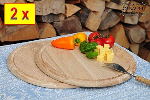 2 Picknick Pizzabretter, Pita-Piadina,Focaccia-Servierbrett, Holzbrett rund, PREMIUM-QUALITÄT, groß Holz,mit umlaufender Rille - Ölrille / Saftrille -, je 1 x ca. 25/28 cm, als Bruschetta-Pita-Döner-Naan-Roti-Ciabatta-Langos-Chubz-Servierbretter, Picknick-Schneidebrett Picknick-Schneidebrettchen, Picknickbrettchen,Anrichtebretter, Brotzeitbretter, Steakteller schinkenbrett rustikal, Schinkenteller von BTV