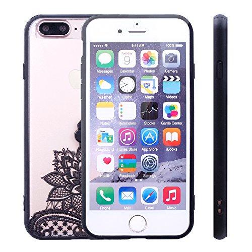 iProtect Hardcase mit Ring Halter Marmor Design Schutzhülle in Schwarz mit Fingerhalterung für Apple iPhone 7 Plus Lotusblüte