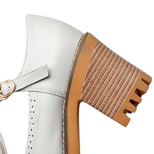 AIYOUMEI Damen T-spangen Chunky Heel Knöchelriemchen Pumps mit 8cm Absatz Blockabsatz Bequem Schuhe Grau