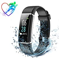 IP68 Waterproof Fitness Tracker, Colour Screen Heart Rate Monitor and Sleep Monitor Calorie Counter Watch,14 Exercise Modes 5 Levels Brightness Adjustable Smart Bracelet Activity Tracker
