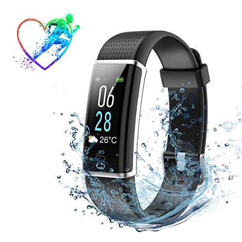 Montre Connectée Bracelet Connecté IP68 pour Natation, Fitness Tracker d'Activité Intelligent Élèctronique, Moniteur Fréquence Cardiaque, Affichage Couleur, Prévisions Météorologiques, Podomètre