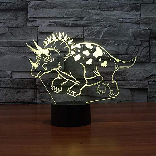 Yujzpl 3D Optische Illusions-Lampen, 3D Nachtlicht,Tolle 7 Farbwechsel-Nachtlicht Mit Usb Kabel-Für Kinder Schlafzimmer Geburtstagsgeschenke Geschenk-Beschmutzter Dinosaurier