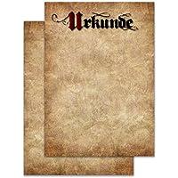 En blanco Certificado Din A4formato, Vintage/Pergamino diseño, 20unidades, estable 190g/m², papel para láser y de tinta Adecuado, profesional Certificados a cualquier ocasión, certificado, Premios