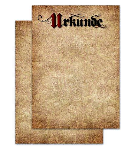 Blanko Urkunde DIN A4 Format, Vintage/Pergament Design, 20 Stück, stabiles 190g/m² Papier, für Laser und Tinte geeignet, professionelle Urkunden zu jedem Anlass, Zertifikate, Auszeichnungen