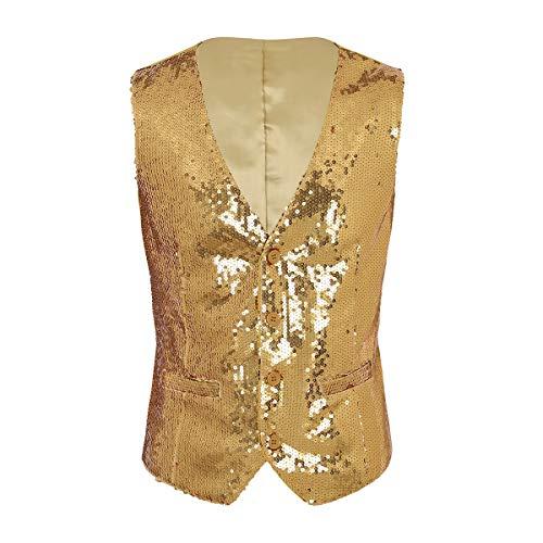 YiZYiF Pailetten Weste Glitzer Weste Herren Kostüm Zubehör Disco Karneval und Mottoparty Kostüm Pailetten Weste Gold Silber Schwarz Weinrot Gold - Gold Weste Kostüm