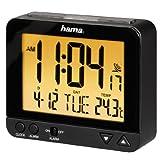 Hama Funk Wecker RC550 (sensorgesteuerte Nachtlichtfunktion, Schlummerfunktion, Temperatur- und Datumsanzeige) Funkwecker Digital schwarz