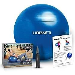 Balón de Ejercicio (de varios tamaños) para mejorar la forma física, estabilidad, equilibrio y para practicar Yoga. Pelota Suiza Con guía de ejercicios y bomba rápida incluidas. Diseño de calidad profesional anti reventones
