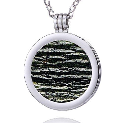 tte 70 cm Edelstahl und Anhänger mit Edelstein grüner Zebra Jaspis Coin 33 mm Chakren Scheibe in Schmuckbeutel ()