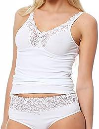 Mujer Sujetador de camisa de Lady, Unterhemd con asas ajustables, tamaño 38 hasta 48