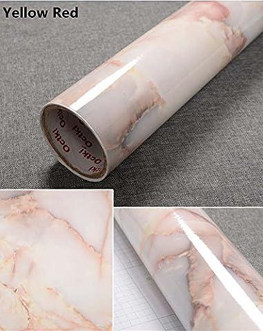 Yancorp Granite Look Marble Effect Counter Top Film Vinyl Self Adhesive Peel-Stick Wallpaper 24 X 78 inch,61cmx2m (Yellow Red)