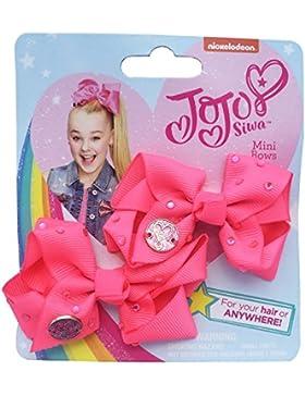 JoJo Siwa Pack of Two 8 cm Mini Signature Bows - Pink Diamante JoJo Bows - Jo Jo Mini Bows with Rhinestones