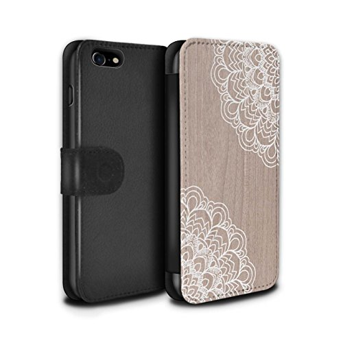 STUFF4 PU-Leder Hülle/Case/Tasche/Cover für Apple iPhone 7 / Mandala Muster / Fein Spitzenborte Holz Kollektion Ahornholz