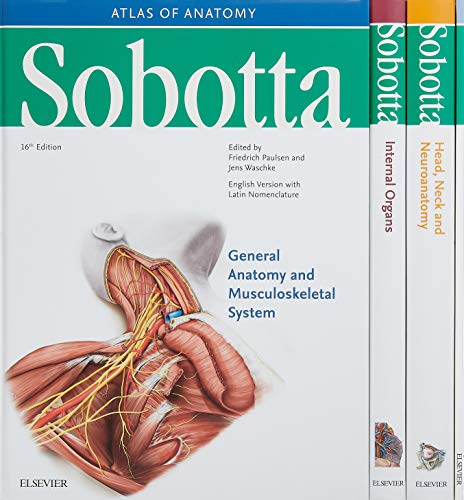 Sobotta Atlas of Anatomy, Package, 16th ed., English/Latin: Musculoskeletal System; Internal Organs; Head, Neck and Neuroanatomy; Muscles Tables