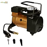#5: AMIDE BY AD.COM™ Tirewell Metal 12V Tubeless Tyre Inflator and 3 Different Adapters in Golden Color