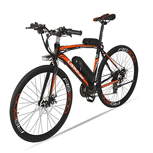 Elektrische City Bike extrbici RS600Mans Elektrische Road Bike 700C × 50cm starken Carbon Stahl Rahmen 240W 36V 15Ah Lithium-Ionen-Akku mit Schlüssel Start Shimano 21Geschwindigkeiten Dual Scheibenbremsen mit 3Riding Modelle für Mann (C-rahmen-motor)