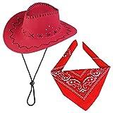 Beefunny Cappello da Cowboy e Set di Accessori Costume in Costume Western Wild Bandana di Paisley (Rosso)