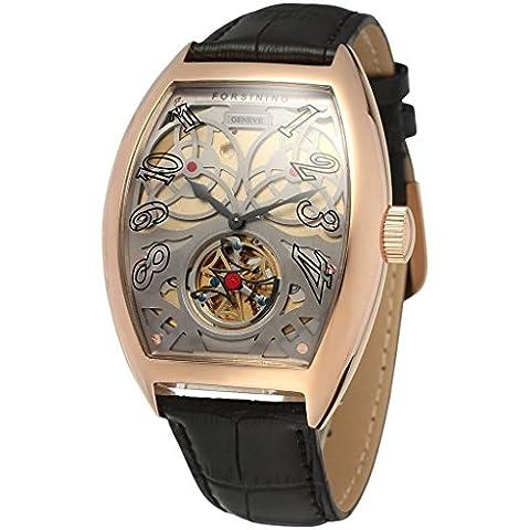 downj da uomo stile Steampunk automatico scheletro in acciaio inox, colore: oro rosa Cinturino in pelle, colore: nero con quadrante grigio - Seiko Moon Watch