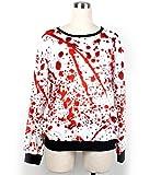 DuuoZy Frauen-Halloween-Blutige weiße Pullovers Cosplay Vampirs-Zombie-Kostüm, White, l