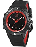 Shark Herren Quarz Armbanduhr Silikon Dual Movement LED Datum Tag Display Wecker SH578
