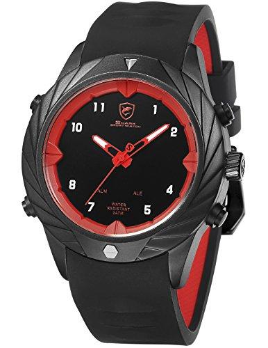 SHARK Quartz Homme Montre Bracelet Silicone LED Date Jour 24 Heures Afficher l'alarme SH578