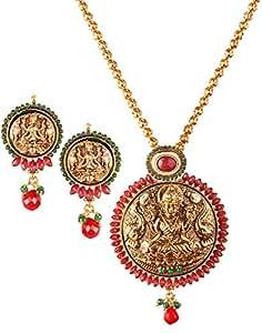 Varaagk Temple Design 3pcs Set - Big Goddess Lakshmi Pendant with Chain and Matching Earrings