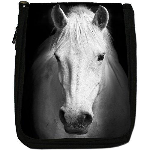 Superb eccezionale Stallion cavalli bianchi-Borsa a tracolla in tela, colore: nero, taglia: M Nero (Majestic White Horse Portrait)