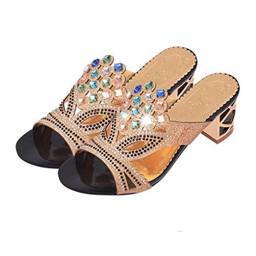 UFACE Strass Floß Air mit Frauen Sandalen Hausschuhe Sommer Mode MäDchen GroßE High Heel Sandaletten Damen Strand Sandale (39, Stil 3-Schwarz)