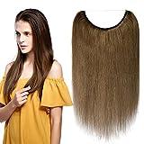 Extension Fil Cheveux Naturel Fil Invisible Transparent Elastique 100% Cheveux Humain Remy Hair Extensions Réglable Sans Clips #06 Châtain clair 16 Pouces, 40cm