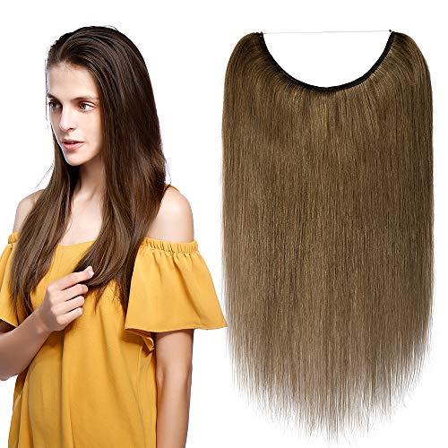 One piece extension capelli veri con filo trasparente wire in 100% remy human hair lisci umani lunga 50cm pesa 70g, #6 castano