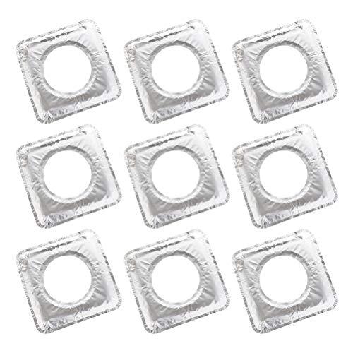 UPKOCH 10 Stücke Einweg Bib Liner Gasherd Brenner Abdeckungen Aluminiumfolie Gasherd Protektoren für Küche Gasherd Top (Silber) -