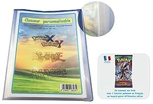 Classeur Portfolio A4 Pokemon vide avec couvertures personnalisables - Capacité 216 cartes + 1 booster pokemon offert