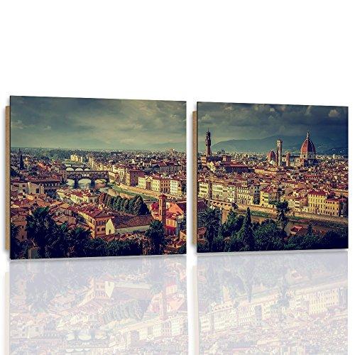 Florenz-panel (Feeby. Wandbilder - 2 Teile - 180x90 cm - quadratische Form Bilder Kunstdrucke Deko Panel FLORENZ, ITALIEN, ARCHITEKTUR, BRAUN)