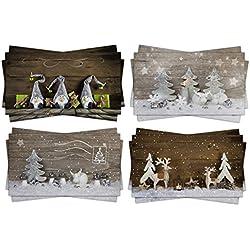 12pieza decoración navideña Tarjetas postales; XXL como tarjetas de Navidad Post; Set con cuatro diferentes motivos de estilo rústico estilo rústico; EDITION 2015–Original de libros de registro de Verlag
