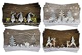 Angebot 2017: 12 Stück exklusive XXL Weihnachtspostkarten Set Postkarten mit rustikalen Fotomotiven (4 Motive je 3 Stück) Holz-Optik grau-silber-weiß-braun natürlich
