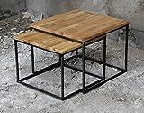 2er-Set Couchtisch Eiche Metall Beistelltisch Industiedesign loft vintage Sofatisch massiv Holz (Eiche natur)