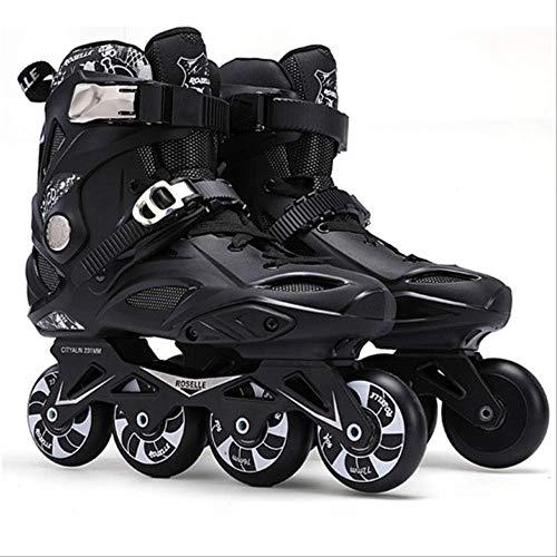 STBB Rollschuhe Erwachsene Inline Skates Freestyle Slalom Rollschuh Stiefel Rocked Wheels Skate Patines Für Damen Herren 42 Schwarz