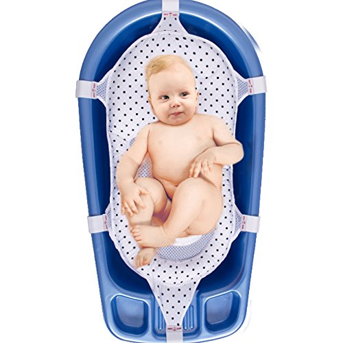 Baby Badesitz Badewannennetz Luxus BadeNetz Weiß/Schwarz Sevibaby Badewannensitz für Babys Bad