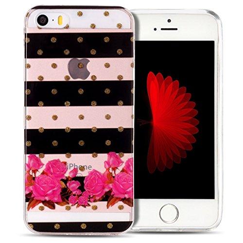 Cover iPhone 5S Spiritsun Case iPhone 5 Custodia iPhone SE Moda Ultraslim Trasparente Soft TPU Case Handy Cover High Quality Case Elegante Souple Flessibile Liscio Copertura Perfetta Protezione Shell  Zebra