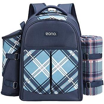Eono Essentials 4 Person Picnic Backpack Hamper Cooler Bag with Tableware Set /& Blanket /…