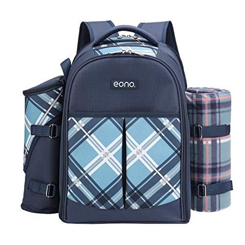Eono by Amazon Borsa termica per zaino da picnic per 4 persone con set di stoviglie e coperta