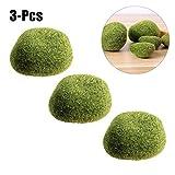 Justdolife 3PCS Rocce Di Muschio Artificiale Decorativo In Plastica Verde A Mano Artificiale Palle Di Muschio Vasi Fillers