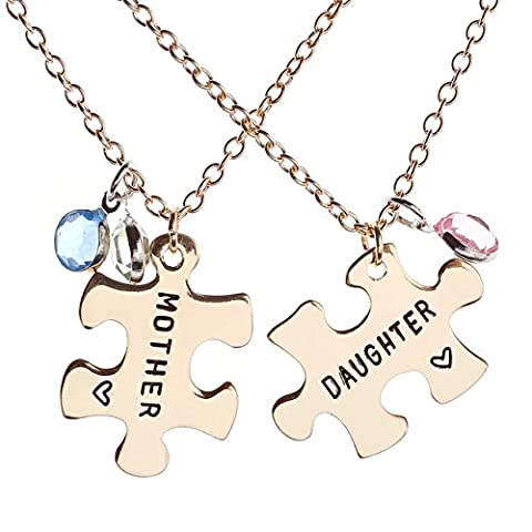 JOVIVI 2pc Set Gold Tone Mother Daughter Crystal Puzzle Charm Pendant Necklace Mother's Day Gifts