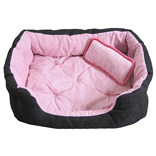 Artikelbild: Tierbett Pink ca. 60x48x17cm mit Innenkissen + Schmusekissen + Pipi-Schutz-Unterlage