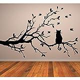 Katze auf Baum Ast Feline Haus-Katzen Wandsticker Haustiere Home Decor-Kunst-Abziehbilder verfügbar in 5 Größen und 25 Farben Groß Schwarz