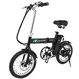 ANCHEER elektrofahrrad, 16 Zoll E-Bike Klapprad, 36V 6Ah Lithium-Batterie 250W Motor (Schwarz)