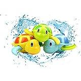 KOBWA Baby Badespielzeug, 3 Stücke Nette Schwimmen Schildkröte Spielzeug Cute Cartoon Tier Aufzieh Kette Uhrwerk Spielzeug für 1, 2, 3 Jahre Alt Kleinkinder Mädchen Jungen Kinder