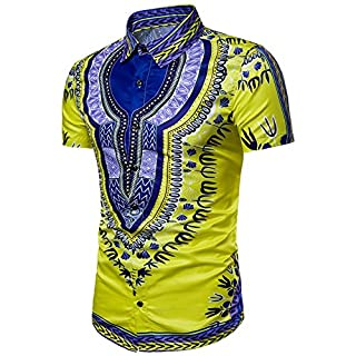 Anglewolf Fashion Mens Hipster Hip Hop African Dashiki Graphic Top Shirts Loose Fit Ethnic Style Printing Casual Tops Spring Summer Valueweight T-Shirts Sports Work Leisure Shirts Tops (Yellow, 3XL)