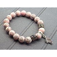 Armband rosa rekonstituierten türkis Perlen und Charms förmigen Stift mit Kristallen