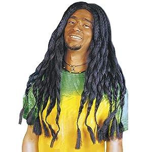 Mens BLACK RASTA WIG - FANCY DRESS ACCESSORIES (peluca)