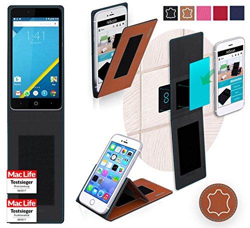 reboon Hülle für Elephone P6000 Tasche Cover Case Bumper | Braun Leder | Testsieger